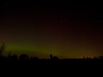 Aurora Borealis north of St. Johns, Michigan