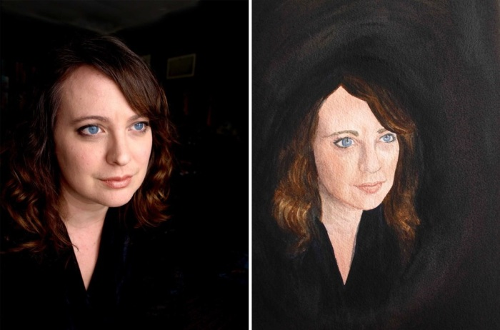 Side by side, I can see where I went a little astray with the eyes. But, all in all, not too shabby, I think!