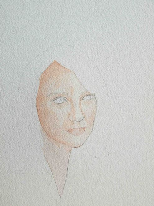 Next lay a light wash (you can always go darker). Mine is a mixture of burnt sienna and alizarin crimson.