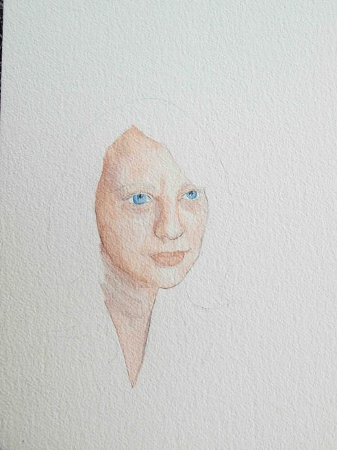 Cobalt blue for the eyes, starting light. I'll add some payne's gray to the blue in a later wash.