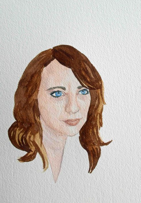 Here's where I really started thinking this would not work. The hair just didn't feel as nicely rendered as the face, though I knew most of it would get swallowed up by the black background eventually. The reddish brown tones in my hair are done with burnt sienna. The darker the color the less water I mixed in.