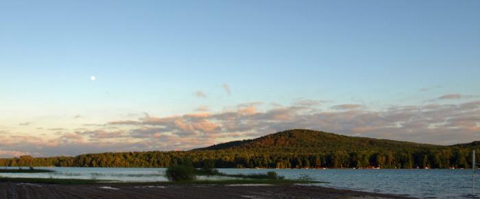 Moon over Spirit Mountain (not actually a mountain) at Camp Lake Louise, Boyne Falls, MI