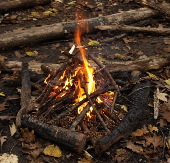 Campfire, North Country Trail, Manistee National Forest, Michigan, October 2016