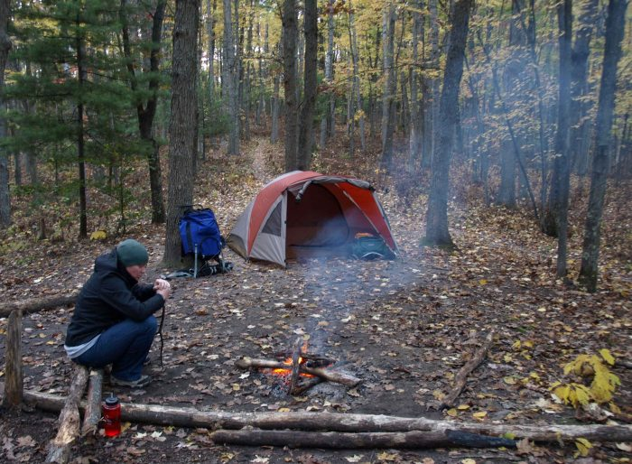 A cold night (35 degrees) camping along the North Country Trail, Manistee National Forest, Michigan, October 2016