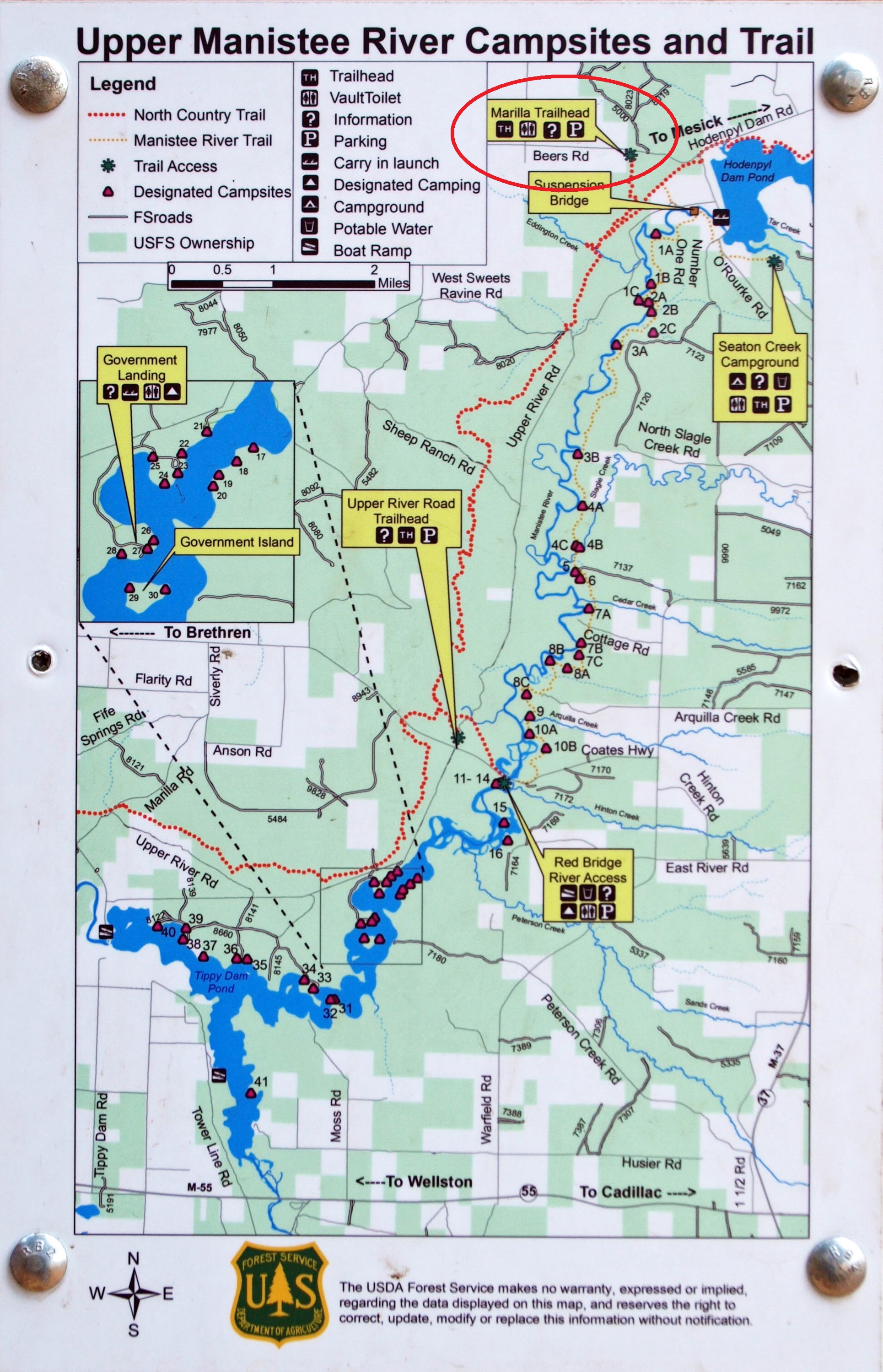 our plan was to jump onto that red dotted line you see that indicates the northcountry trail and head south to the second of two creeks to set up camp for. hiking the north country trail side of the manistee river day one