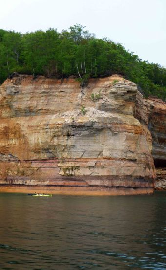 Kayakers at Pictured Rocks National Lakeshore